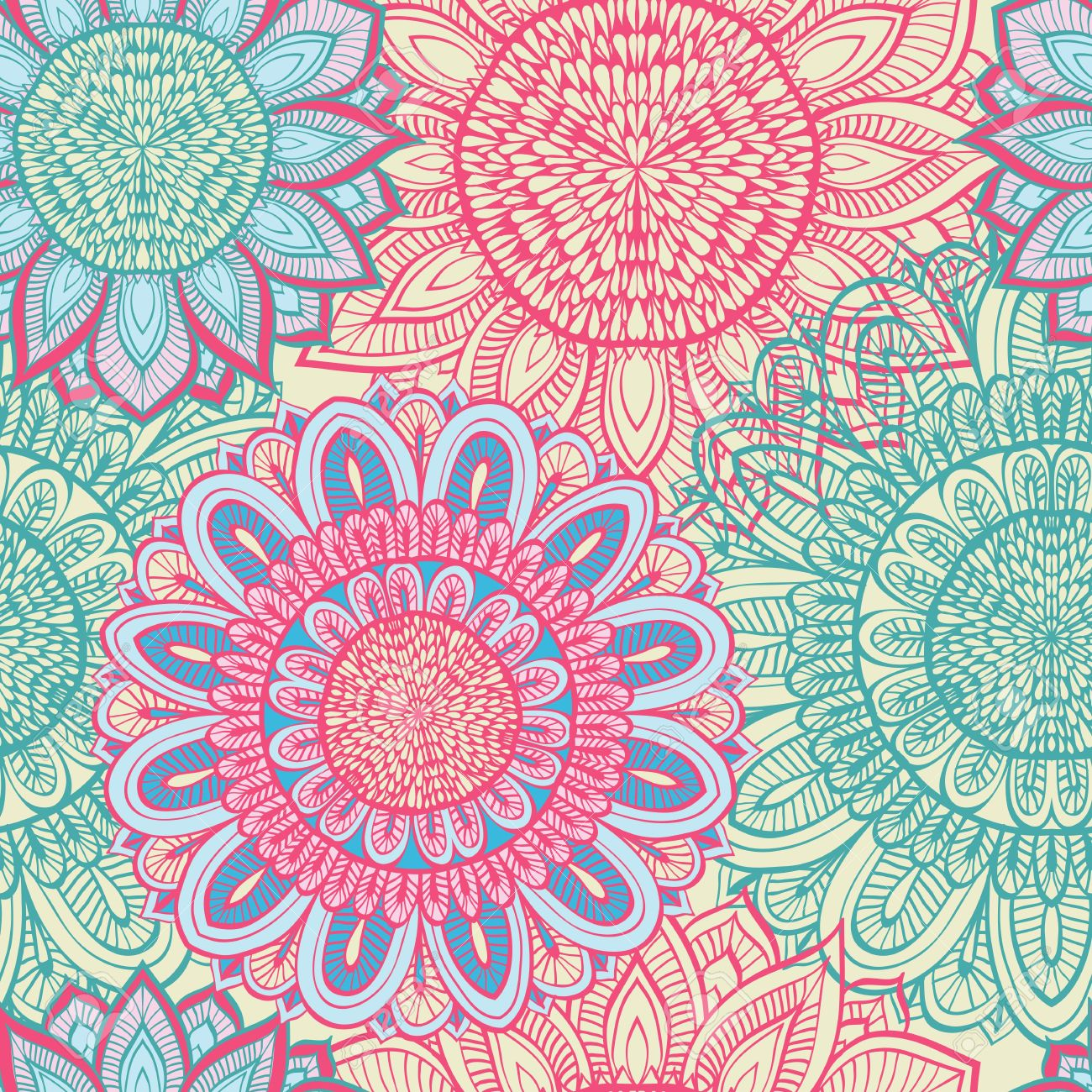 Seamless Blue And Pink Floral Background With Hand Drawn Flowers