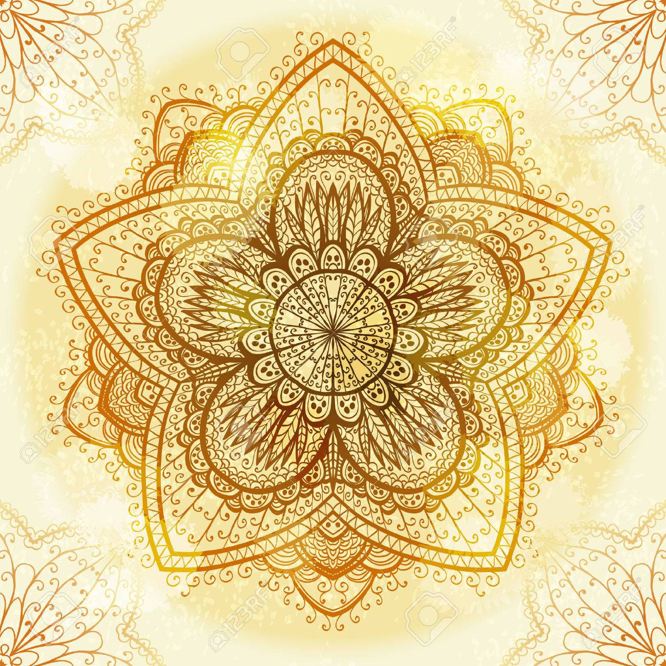 Hand drawn ethnic circular beige ornament Stock Vector - 25281780