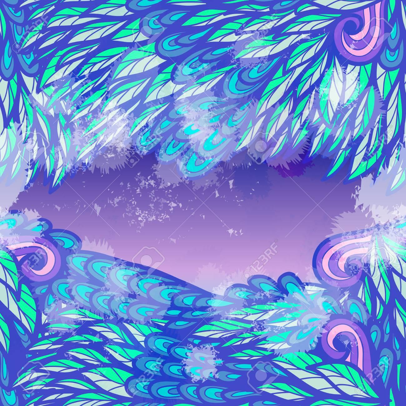 Mano Dibujada Diseño De Tarjeta De Invitación De Neón Azul Y Violeta Transparente Con Remolinos