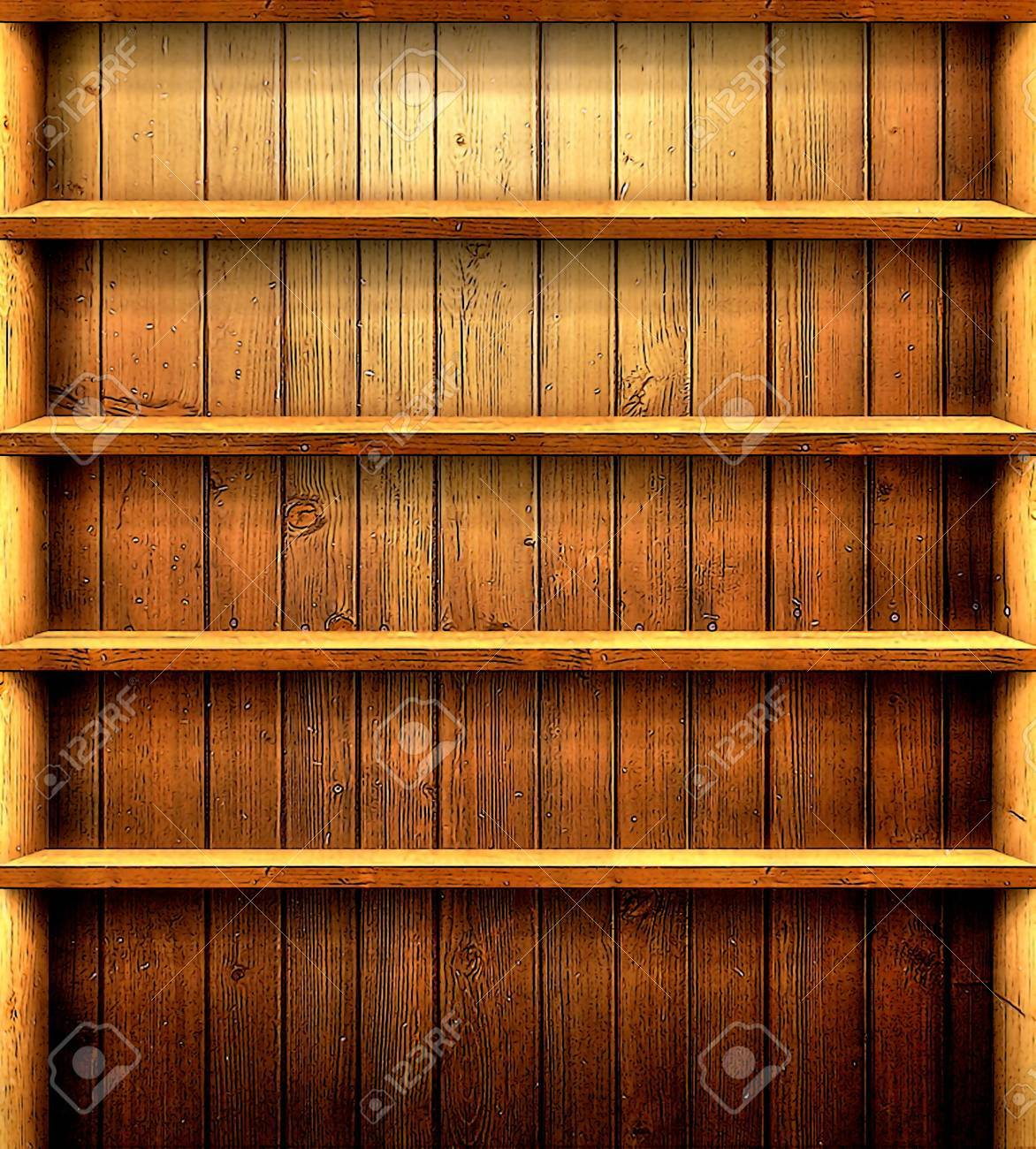 Small Empty Wooden Shelf Warm Brown Color Suitable As A Background Cartoon Effet