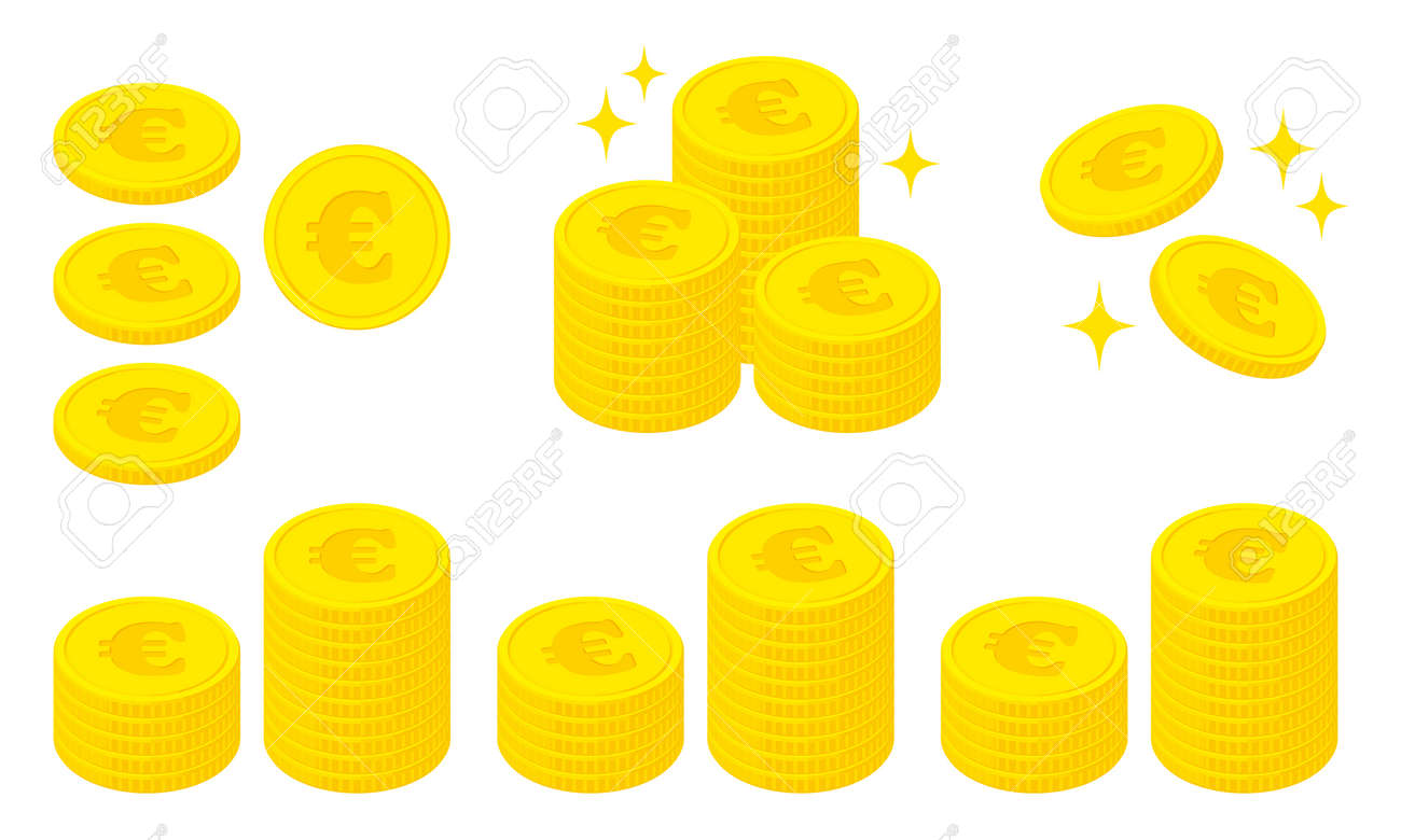 Illustration set of coins with the euro symbol - 168800431