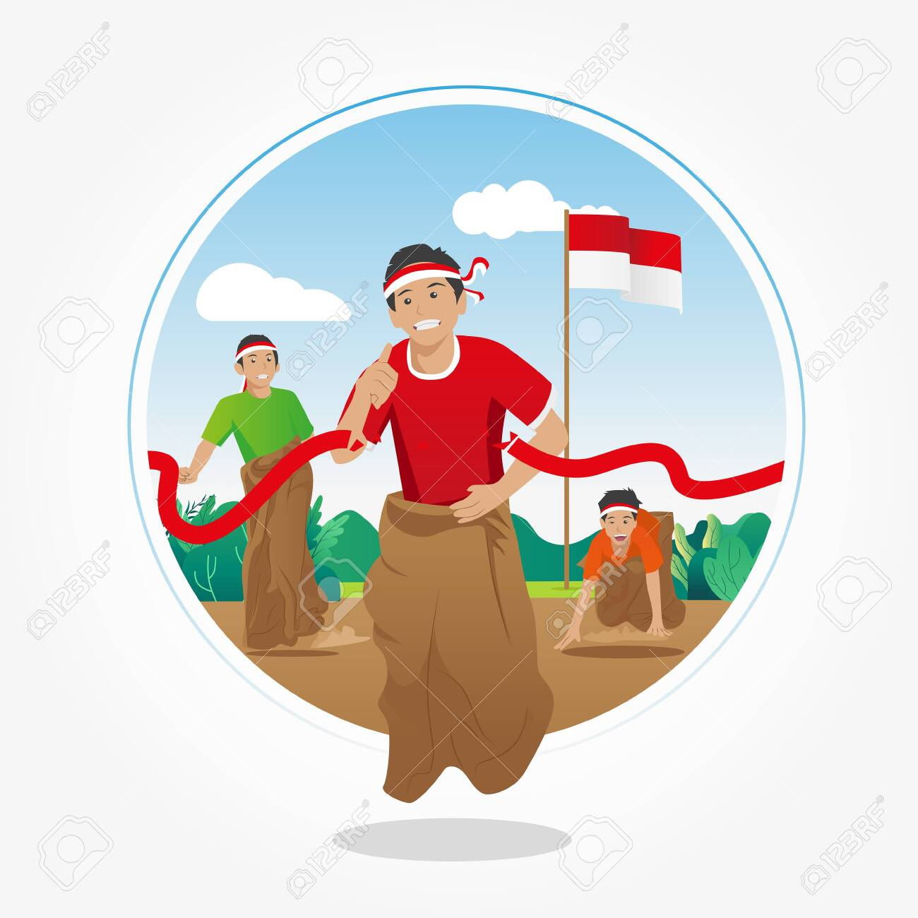 Lomba Balap Karung 17 Agustus Translate Sack Race Competition Royalty Free Cliparts Vectors And Stock Illustration Image 130404036