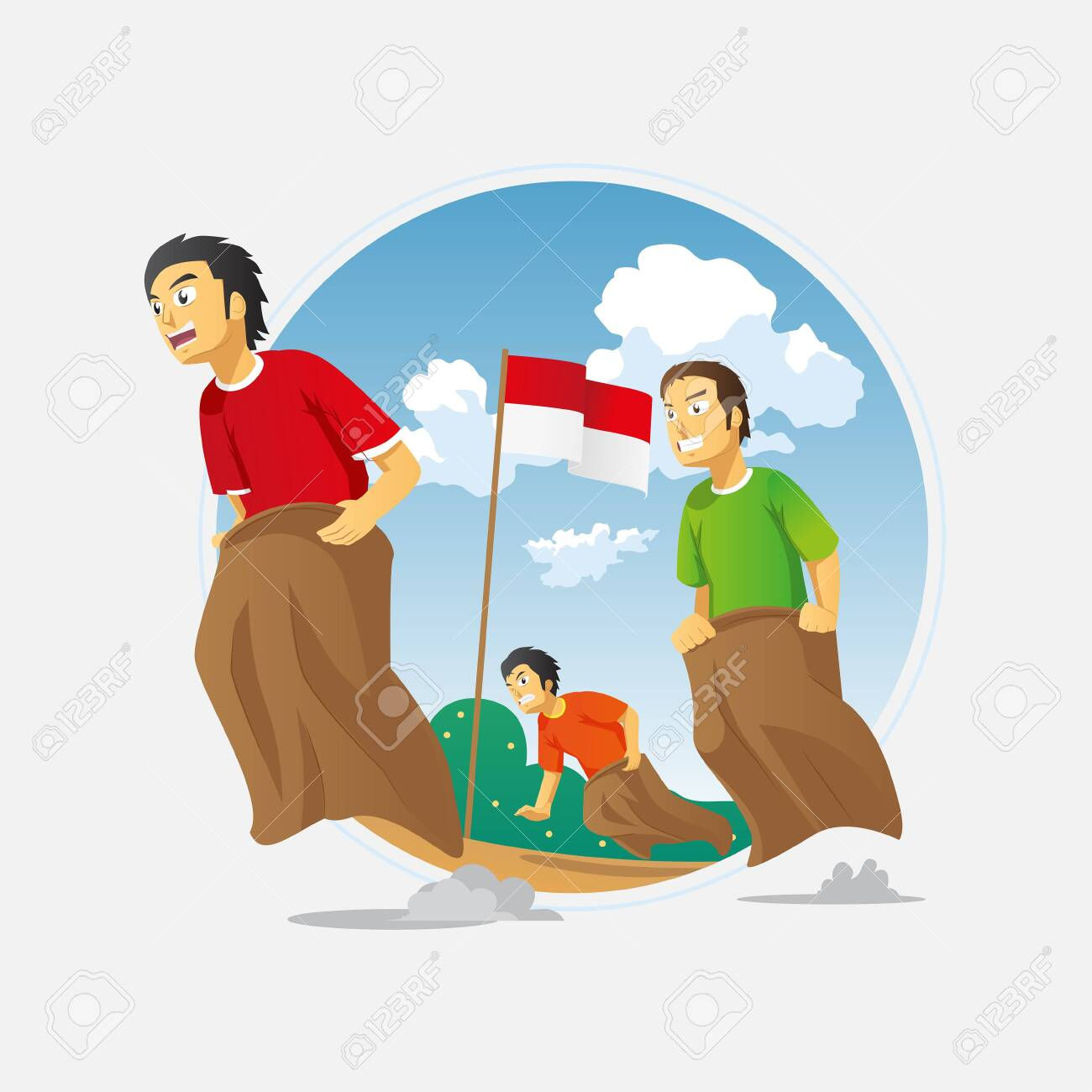 Lomba Balap Karung 17 Agustus Translate Sack Race Competition Royalty Free Cliparts Vectors And Stock Illustration Image 143652375