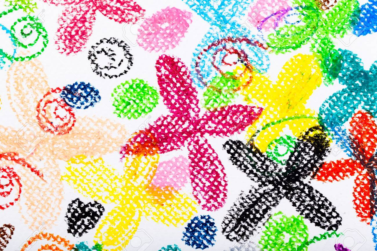 Oil Pastels Colour Drawing Flowers On Paper Background Stock Photo