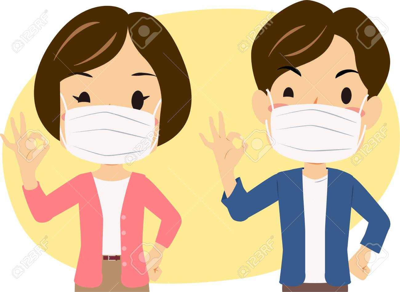 A illustrations of Healthy men and women with the effect of wearing a mask - 139448145