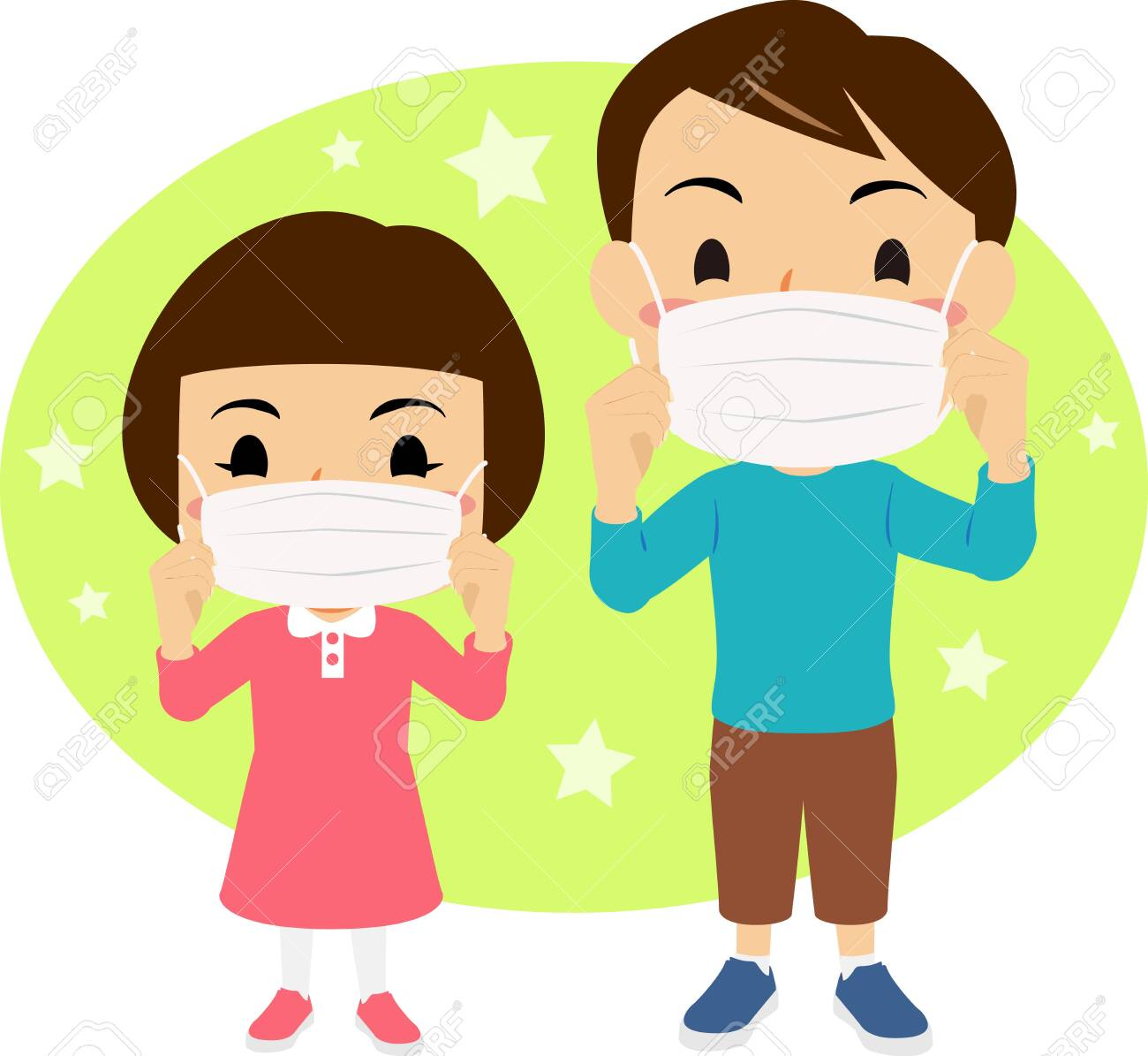 Illustration Of Boy And Girl Wearing Masks Royalty Free Cliparts, Vectors,  And Stock Illustration. Image 141696392.