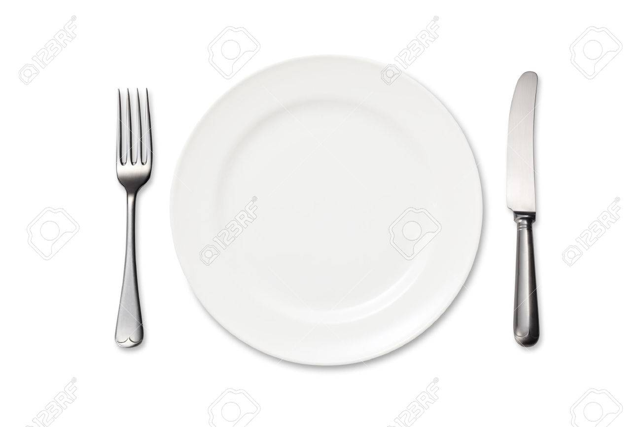 Dinner plate, knife and fork on white background - 45812467