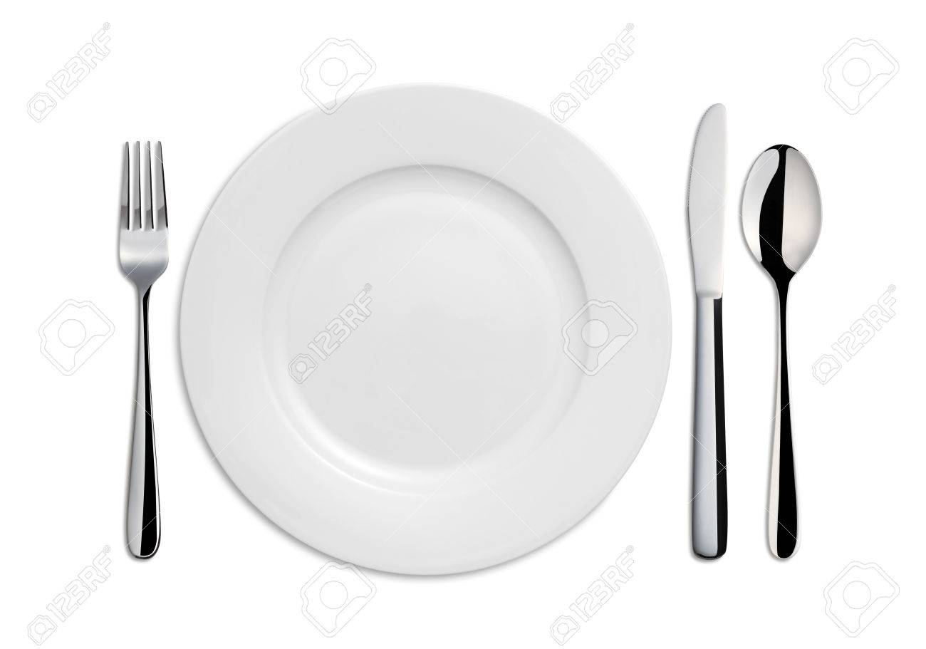Dinner Plate, Knife, Spoon and Fork on white background - 46196249