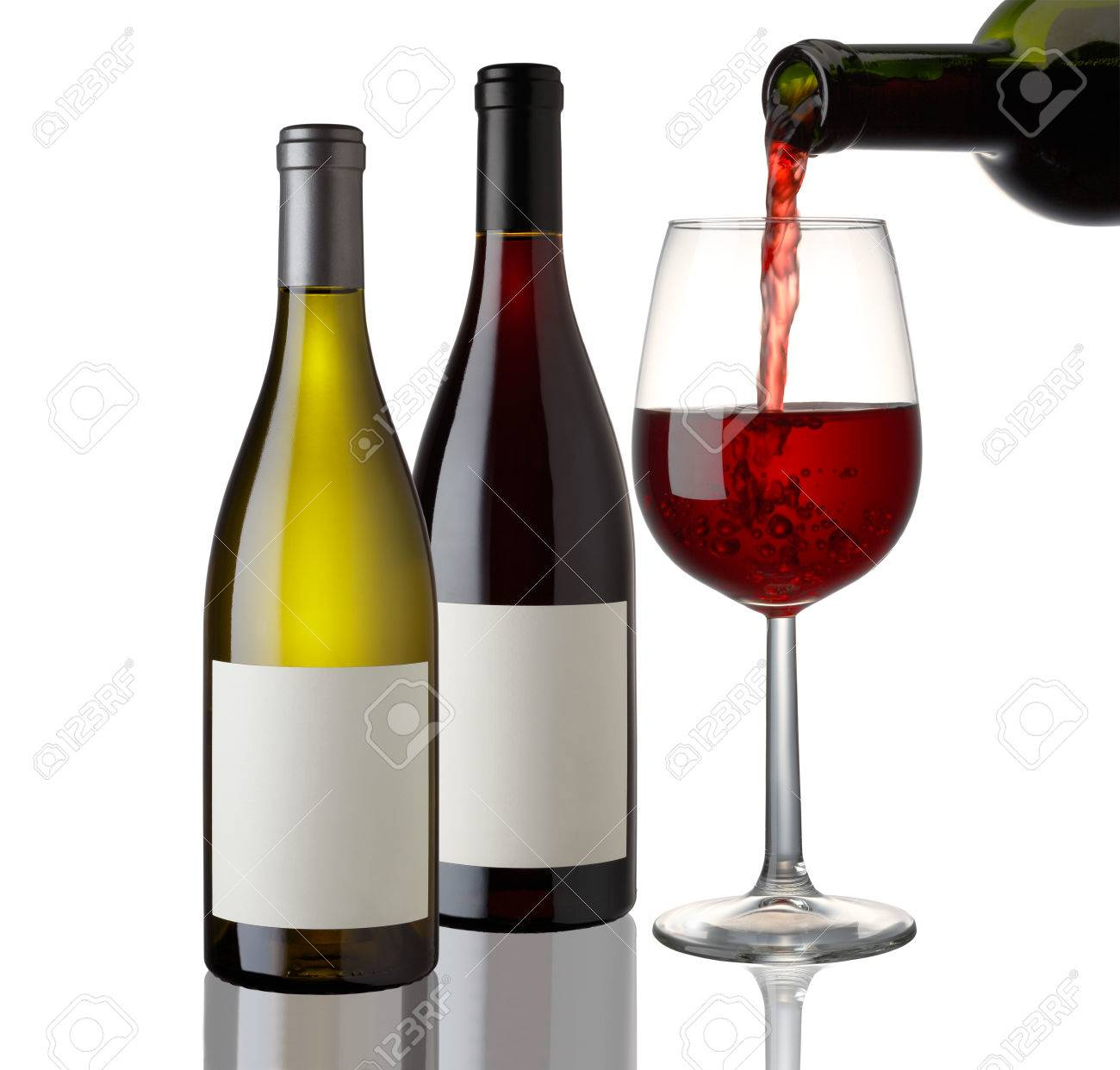 Red and White Wine bottle and glass on white background - 46197947