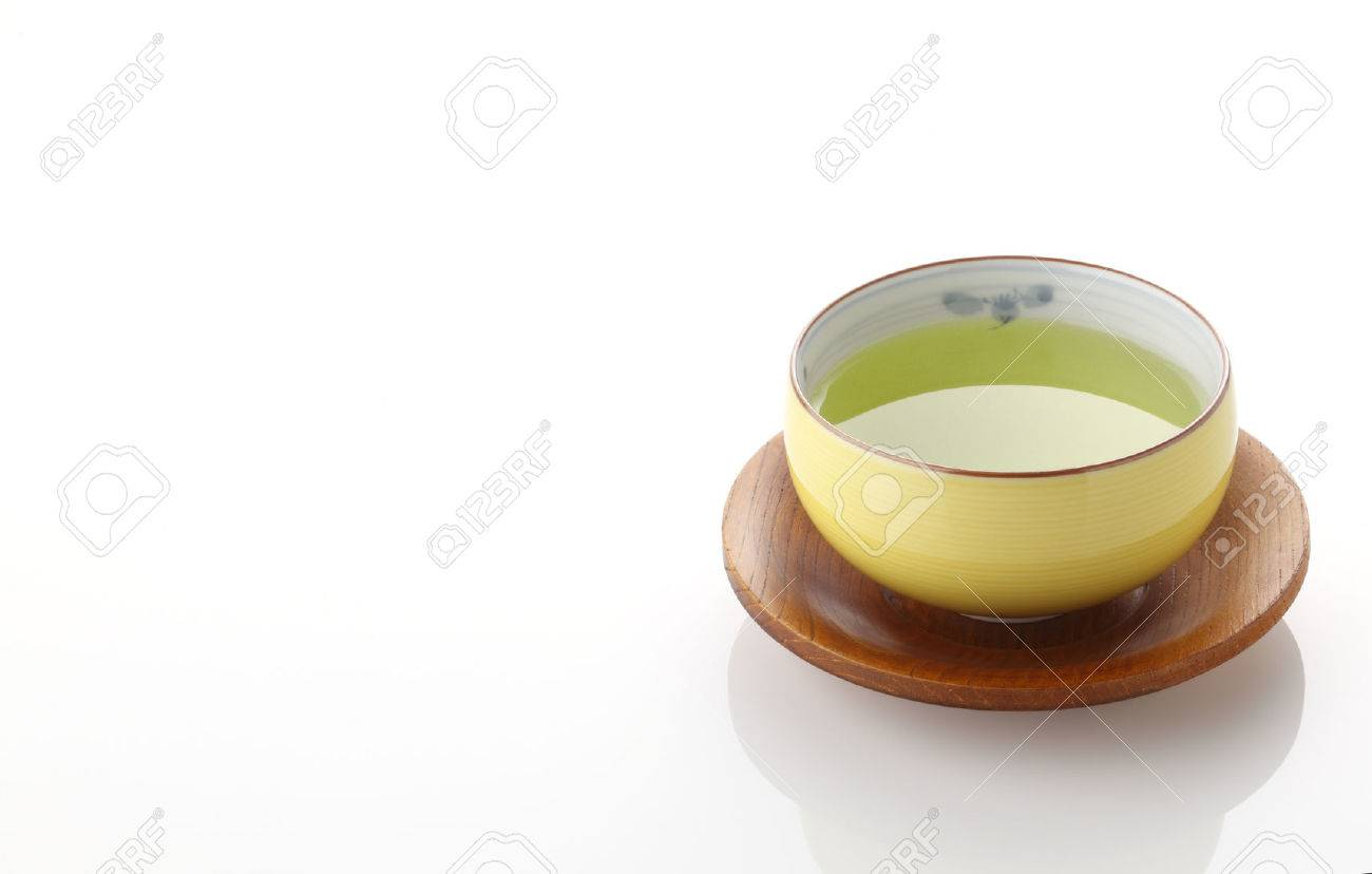 Japanese green tea in porcelain cup on white background - 46190828