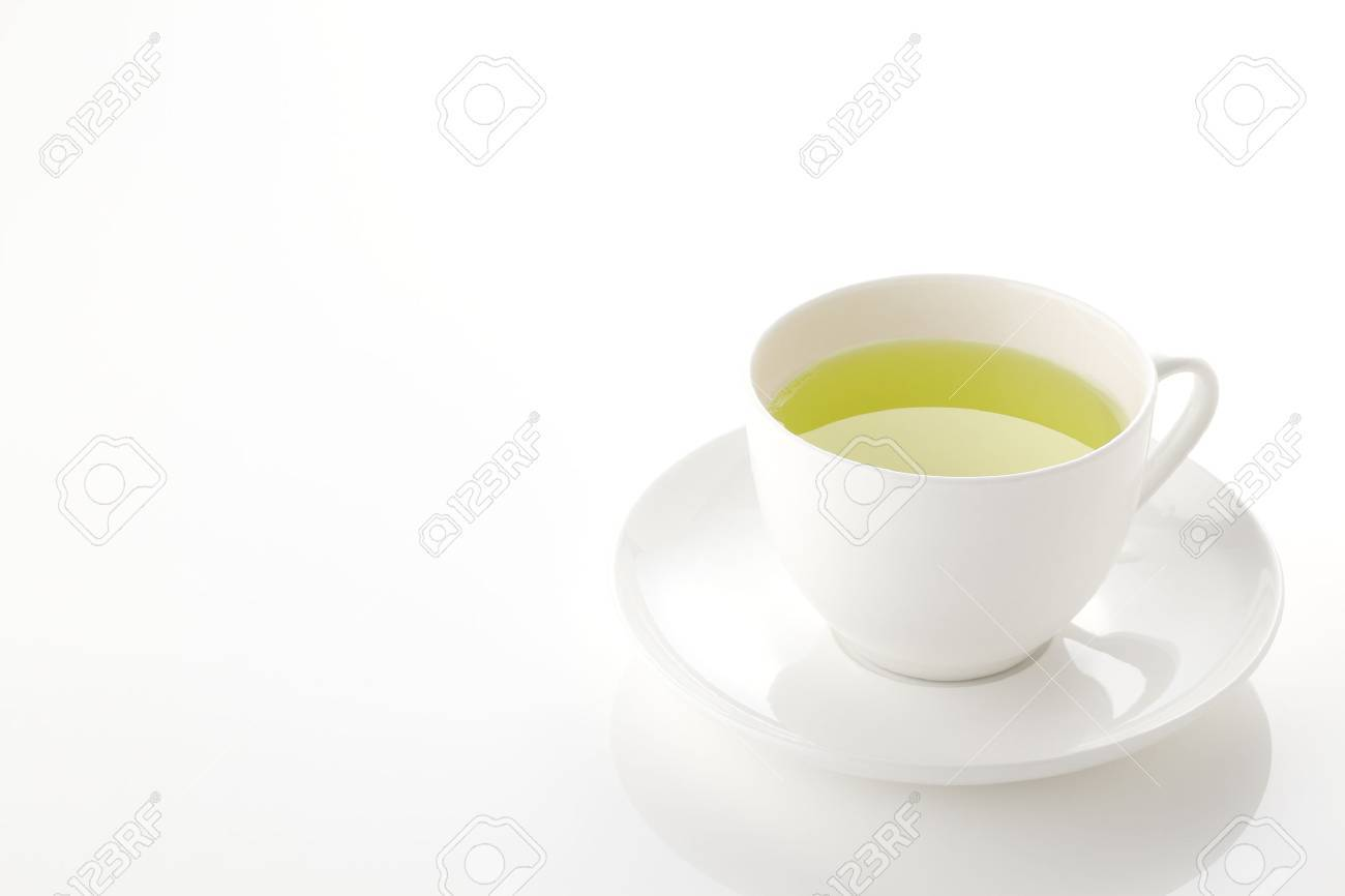 Japanese green tea in porcelain cup on white background - 46190831