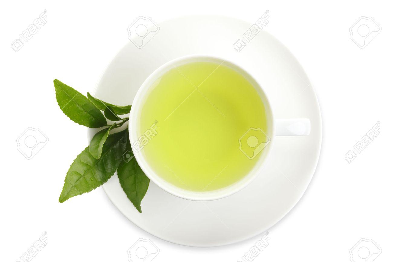 Japanese green tea and fresh green tea leaves on white background - 46190838