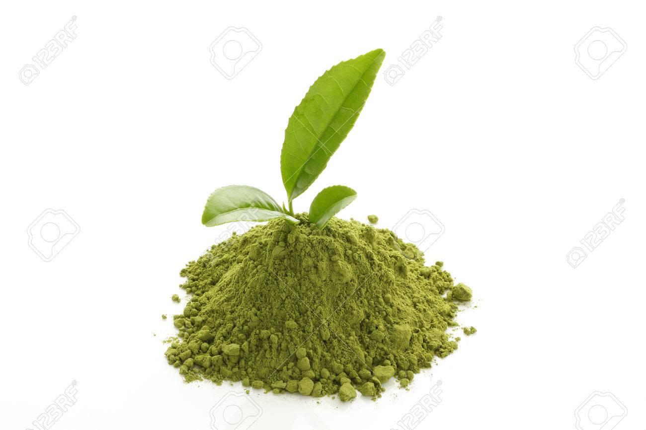 Matcha Green Tea powder and fresh green tea leaves - 46190846