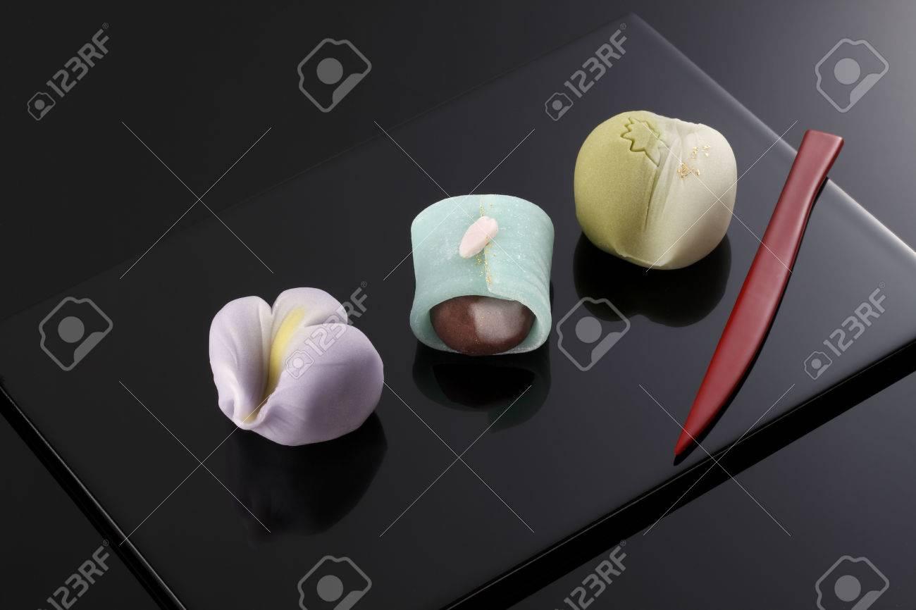 "Japanese traditional confectionery cake ""wagashi"" on plate - 46191451"