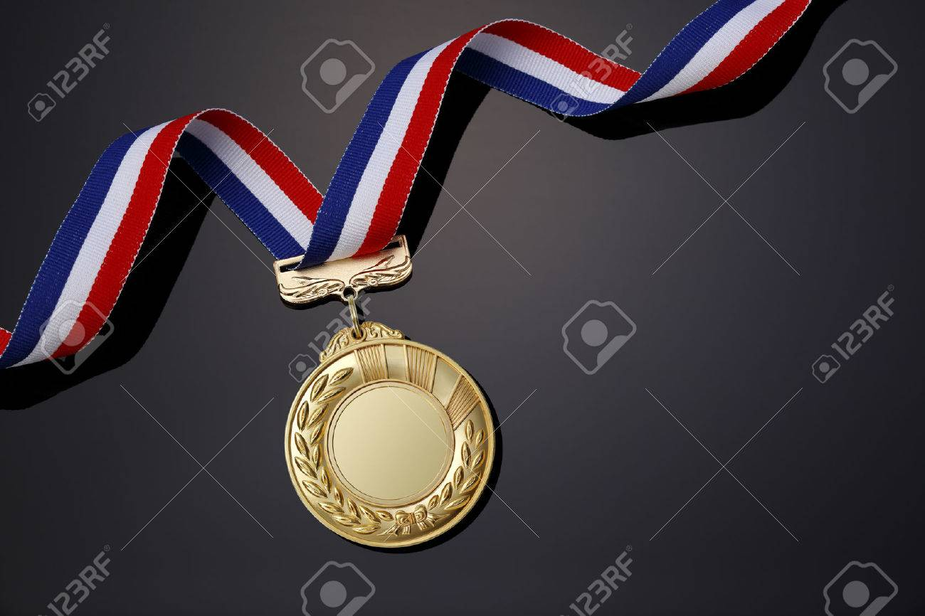 Gold medal on black background - 49856133