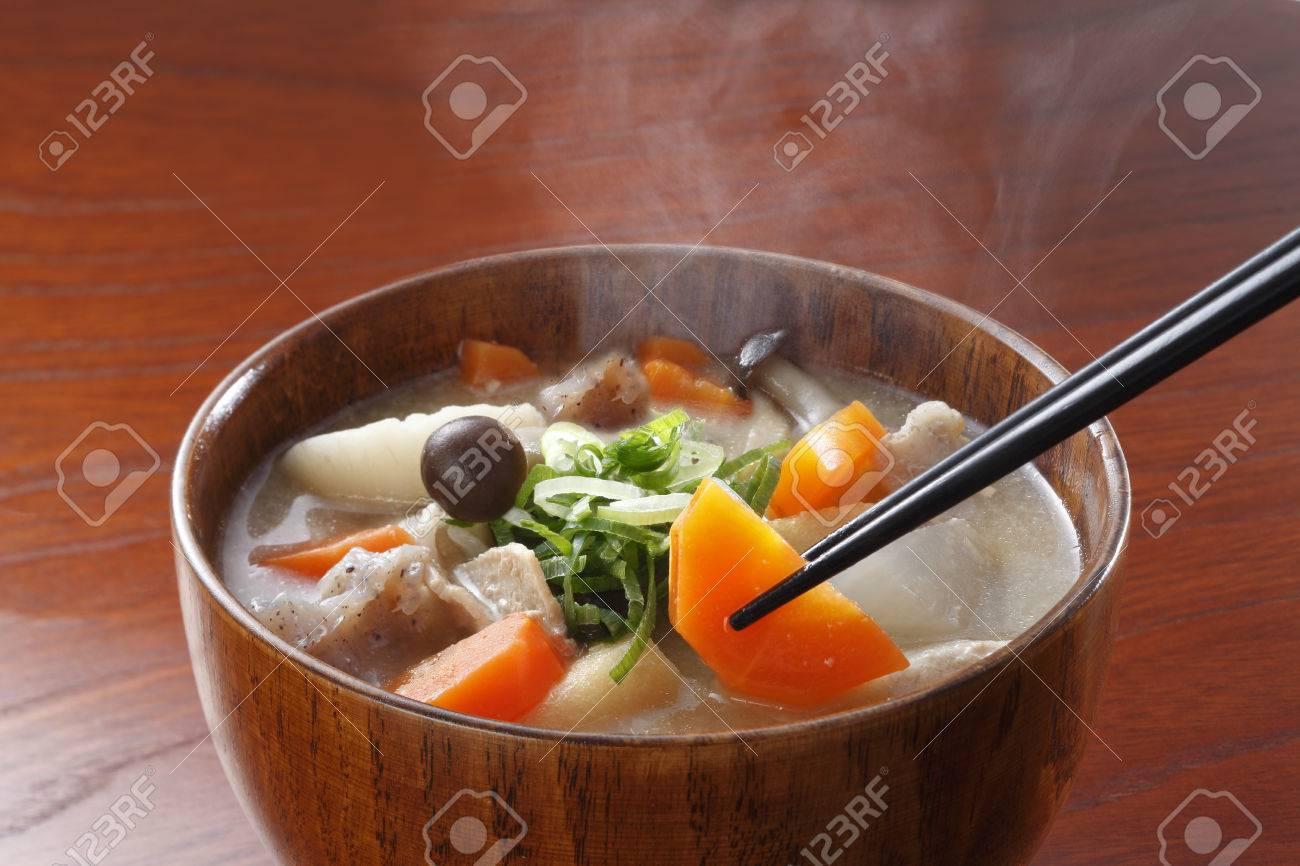 """miso soup"" Traditional japanese dish butajiru - 50664802"