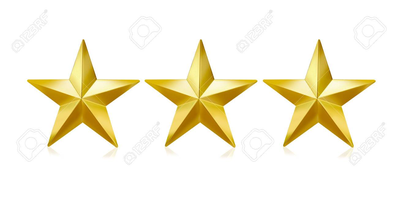 three gold stars on white background stock photo picture and