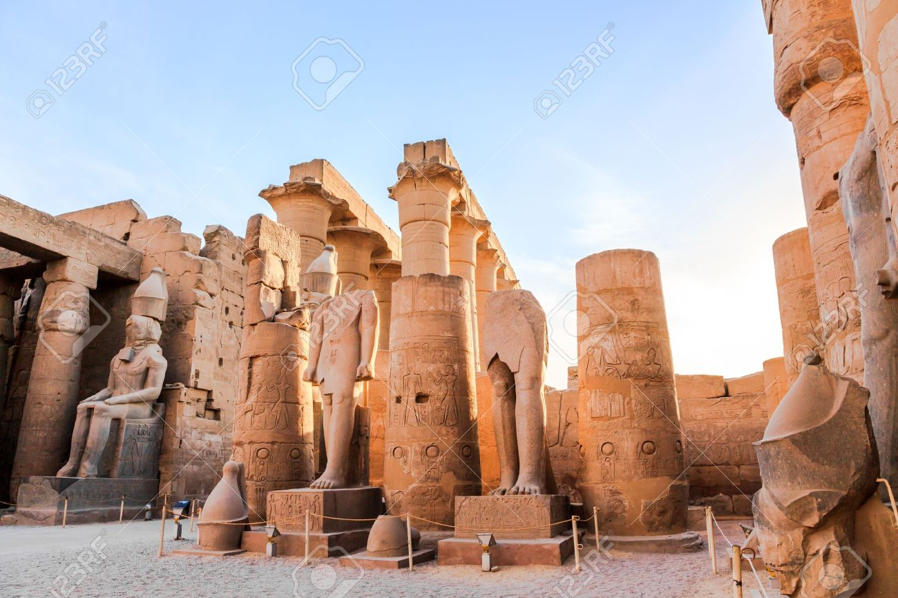 statue of pharaoh in luxor temple luxor egypt stock photo picture