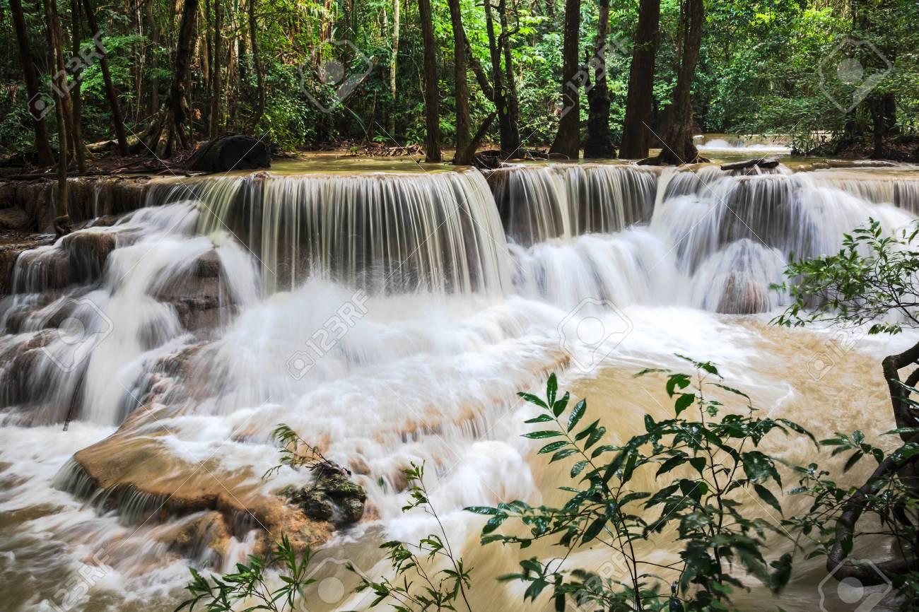 Huay mae khamin waterfalls in kanchanaburi province, thailand Stock Photo - 21730083