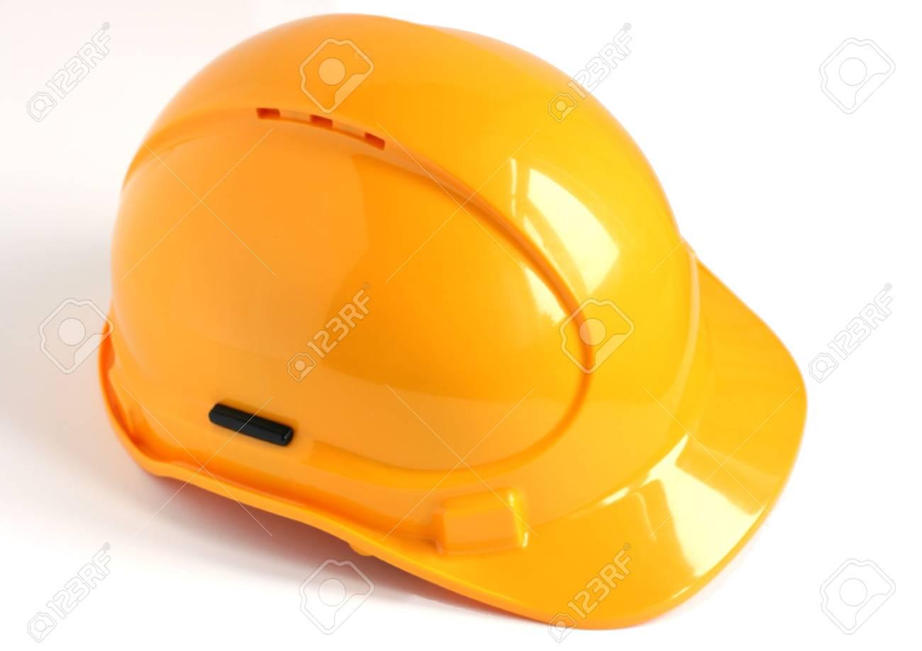 yellow hard hat isolated on white background Stock Photo - 5850550