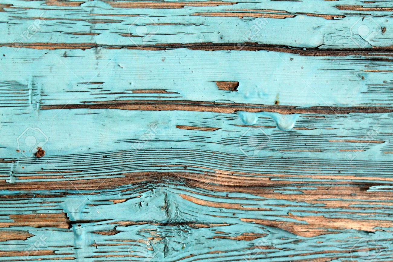 Old Blue Board With Cracked Paint Vintage Wood Background Grunge Plank Wooden Remains Of Pieces Scraps On
