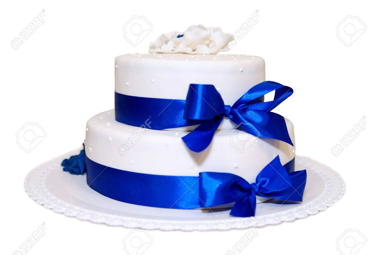 White Wedding Cake With Blue Ribbons Stock Photo, Picture And ...