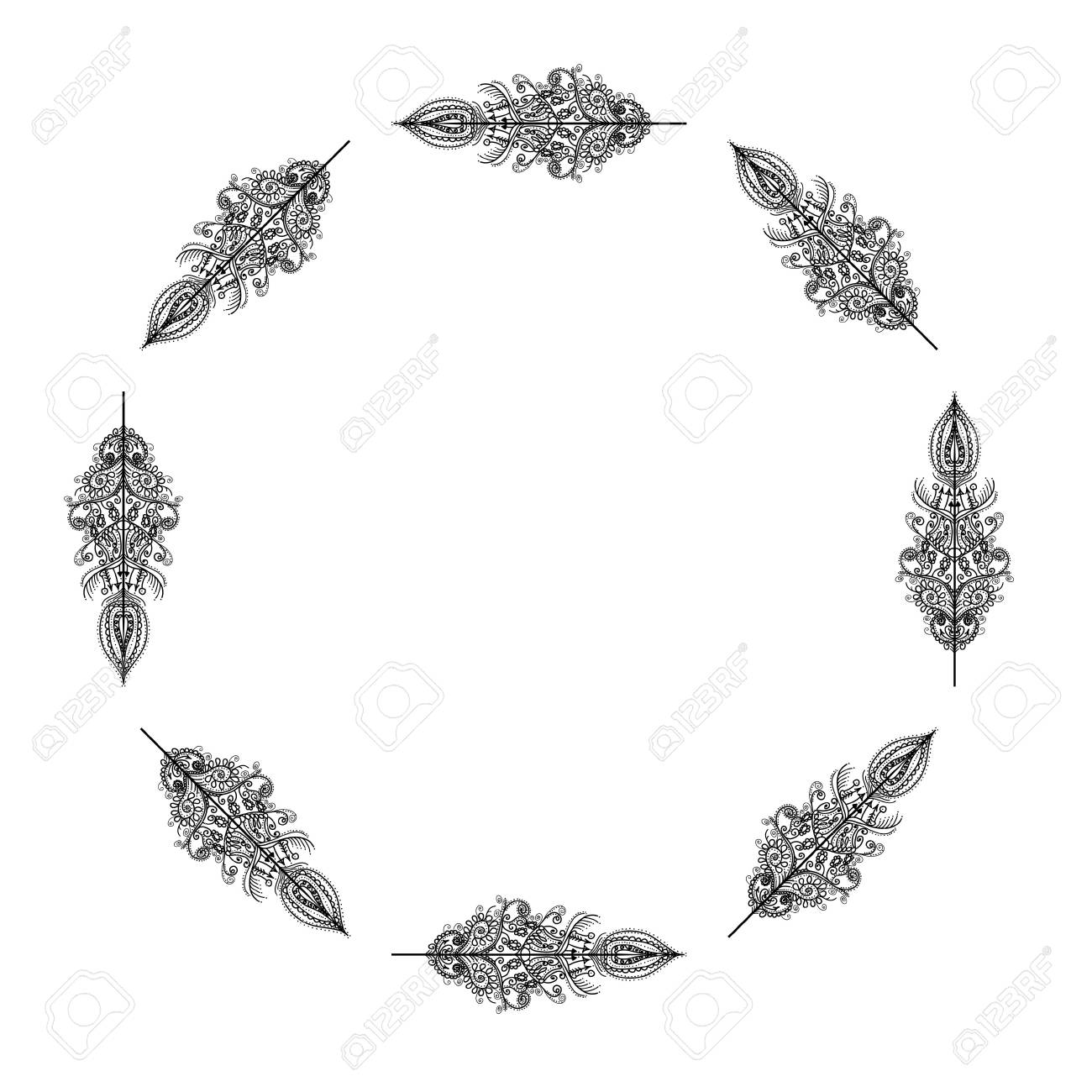 Vector Decorative Frame From Feathers Design For Template