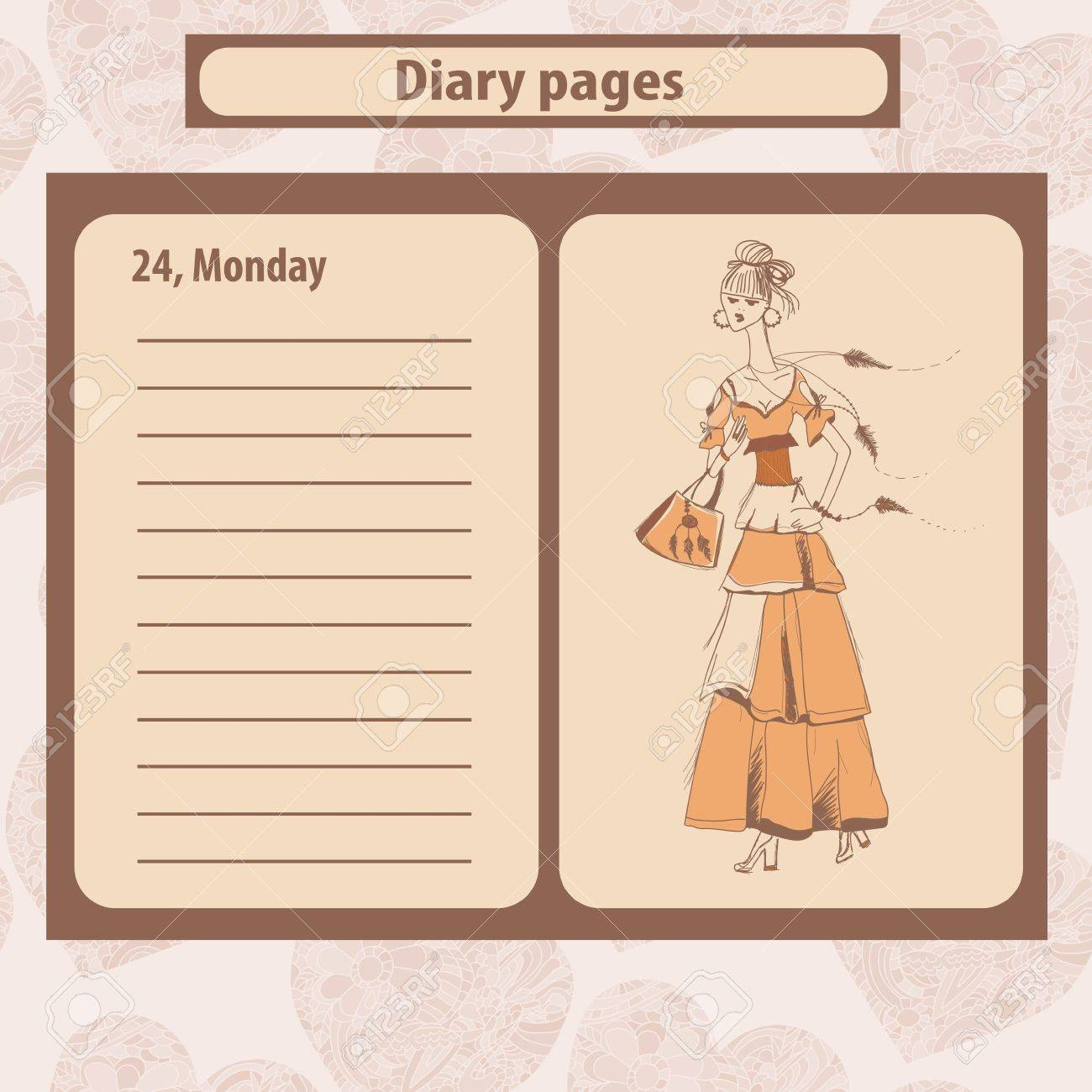 Diary or note pages with illustration of young fashion woman in boho style . Vector illustration. - 53898617