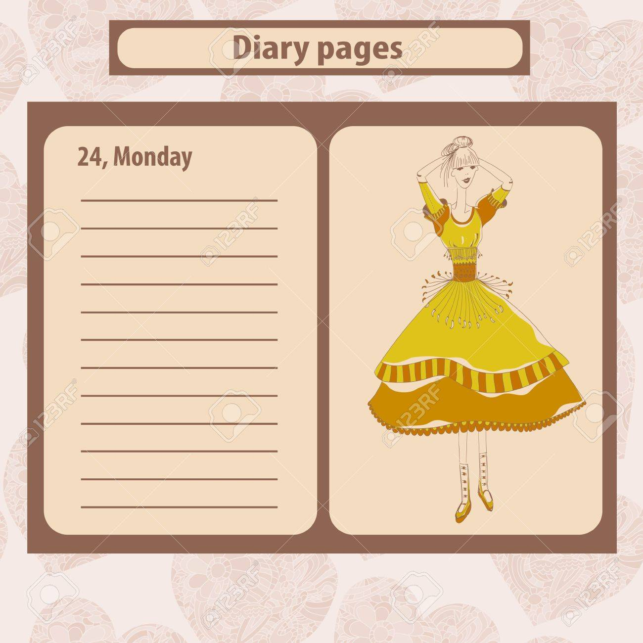 Diary or note pages with illustration of young fashion woman in boho style . Vector illustration. - 53898613