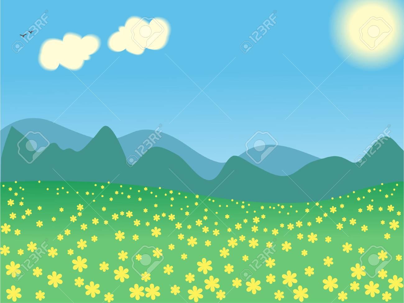 illustration summer day landscape Stock Vector - 7988589