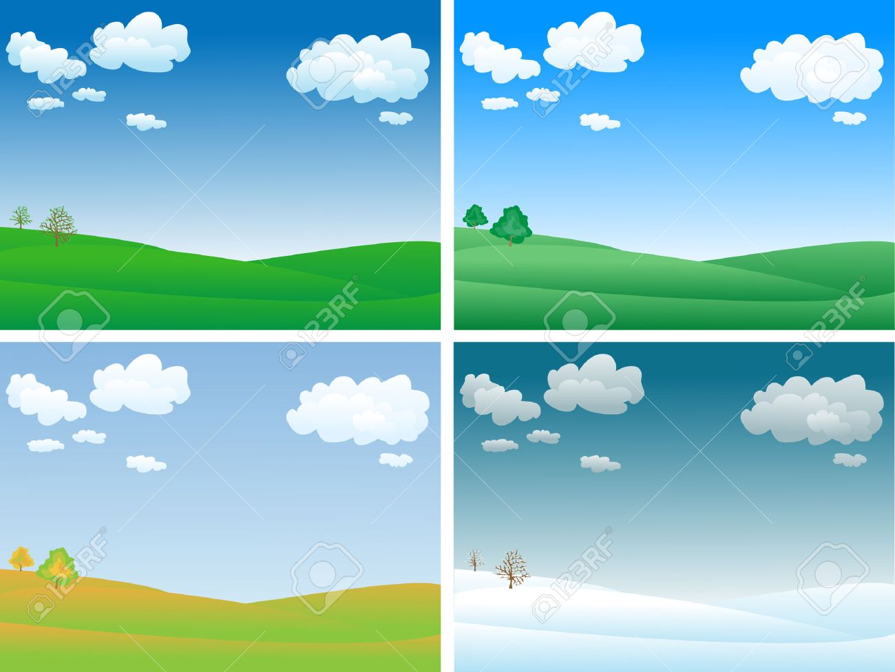 peaceful and calm four seasons landscape Stock Vector - 7988591 - Peaceful And Calm Four Seasons Landscape Royalty Free Cliparts