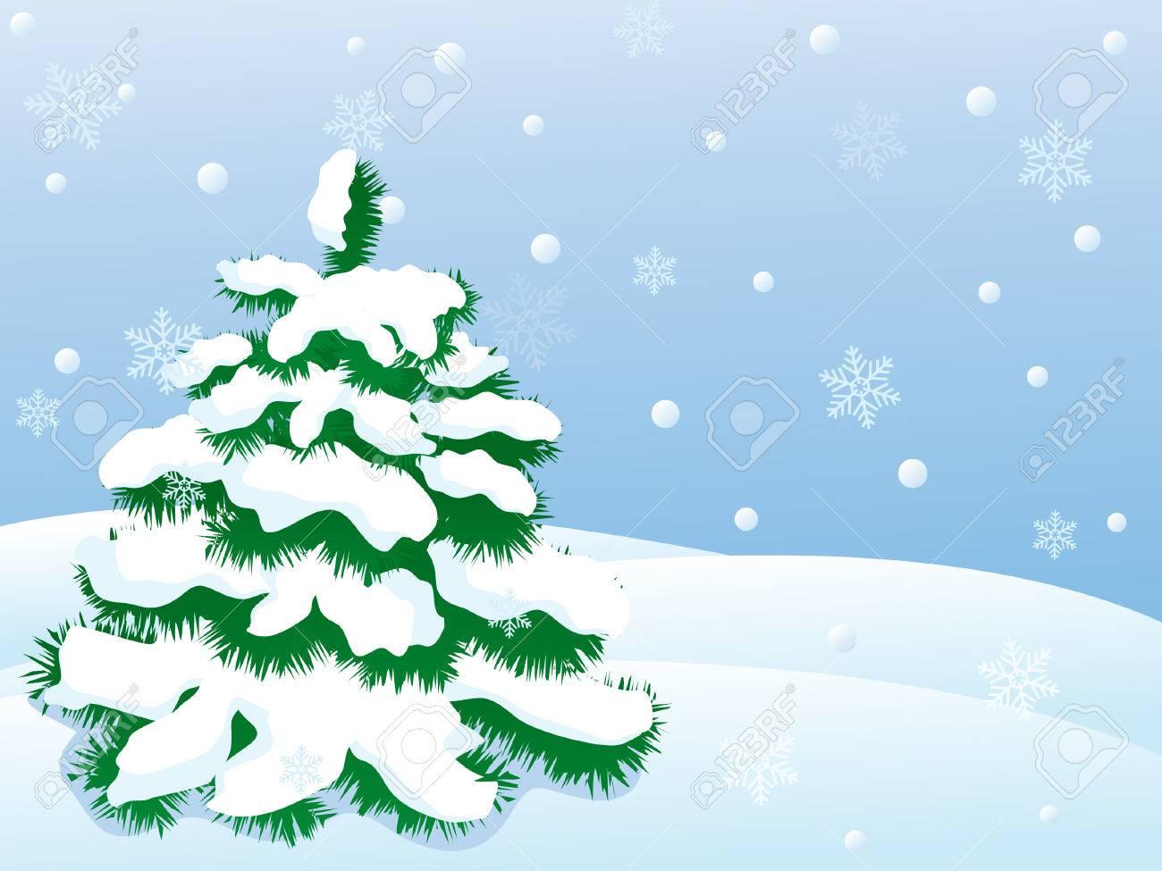 snowy winter landscape.vector illustration Stock Vector - 8155646