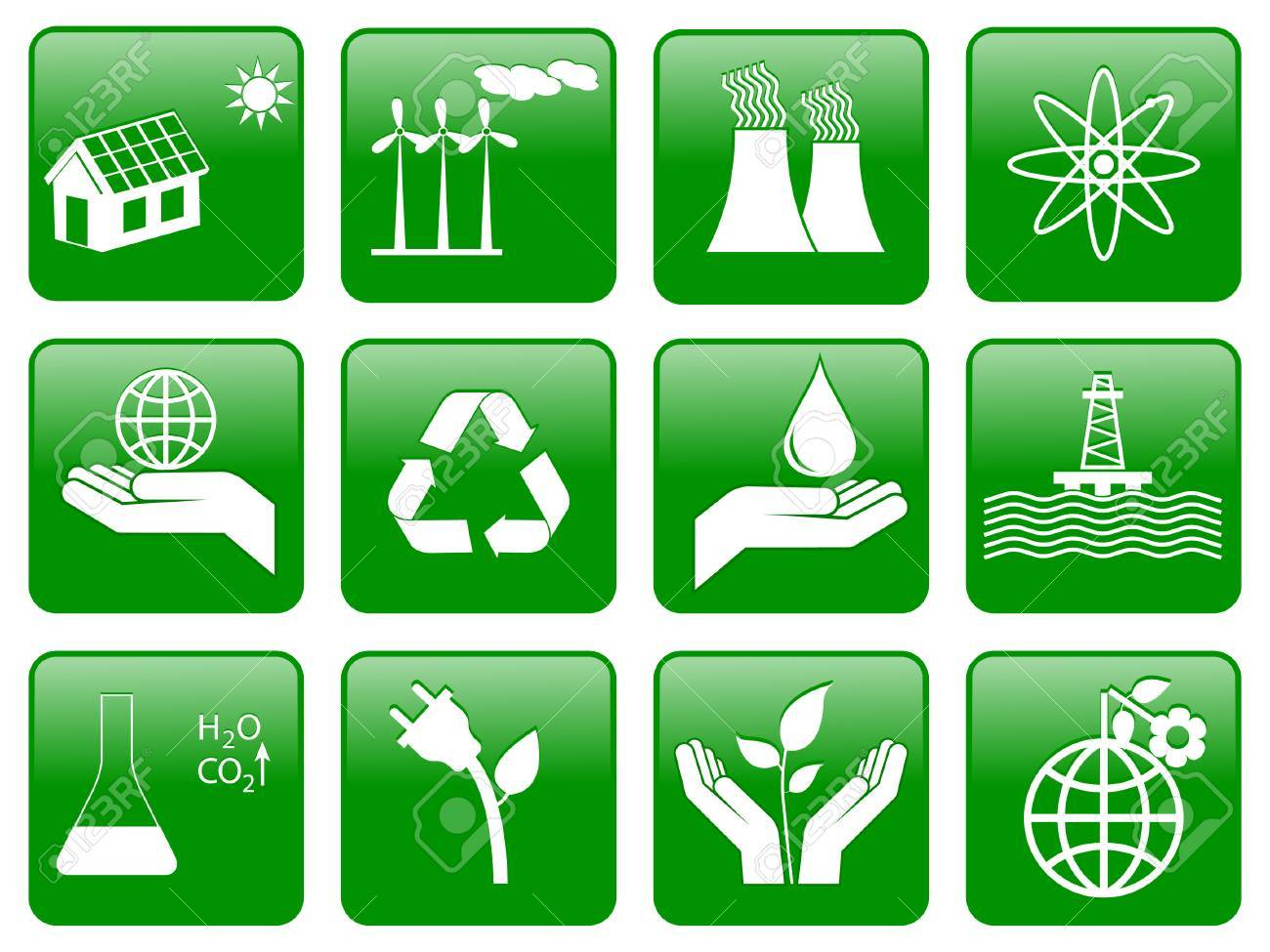 Earth conservation and ecology icon set Stock Vector - 8155625