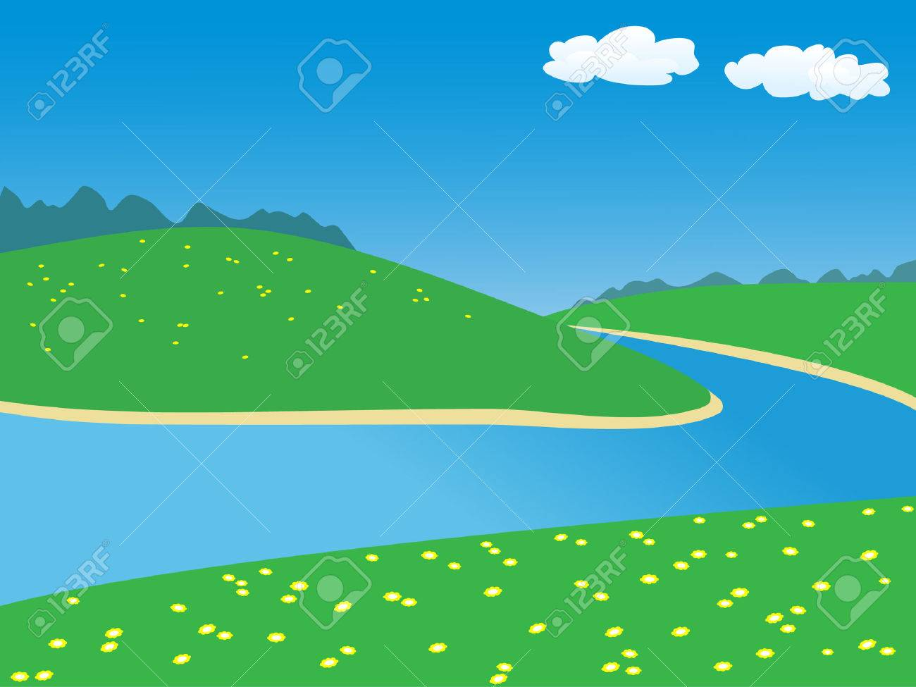 landscape with river.vector illustration Stock Vector - 8155648