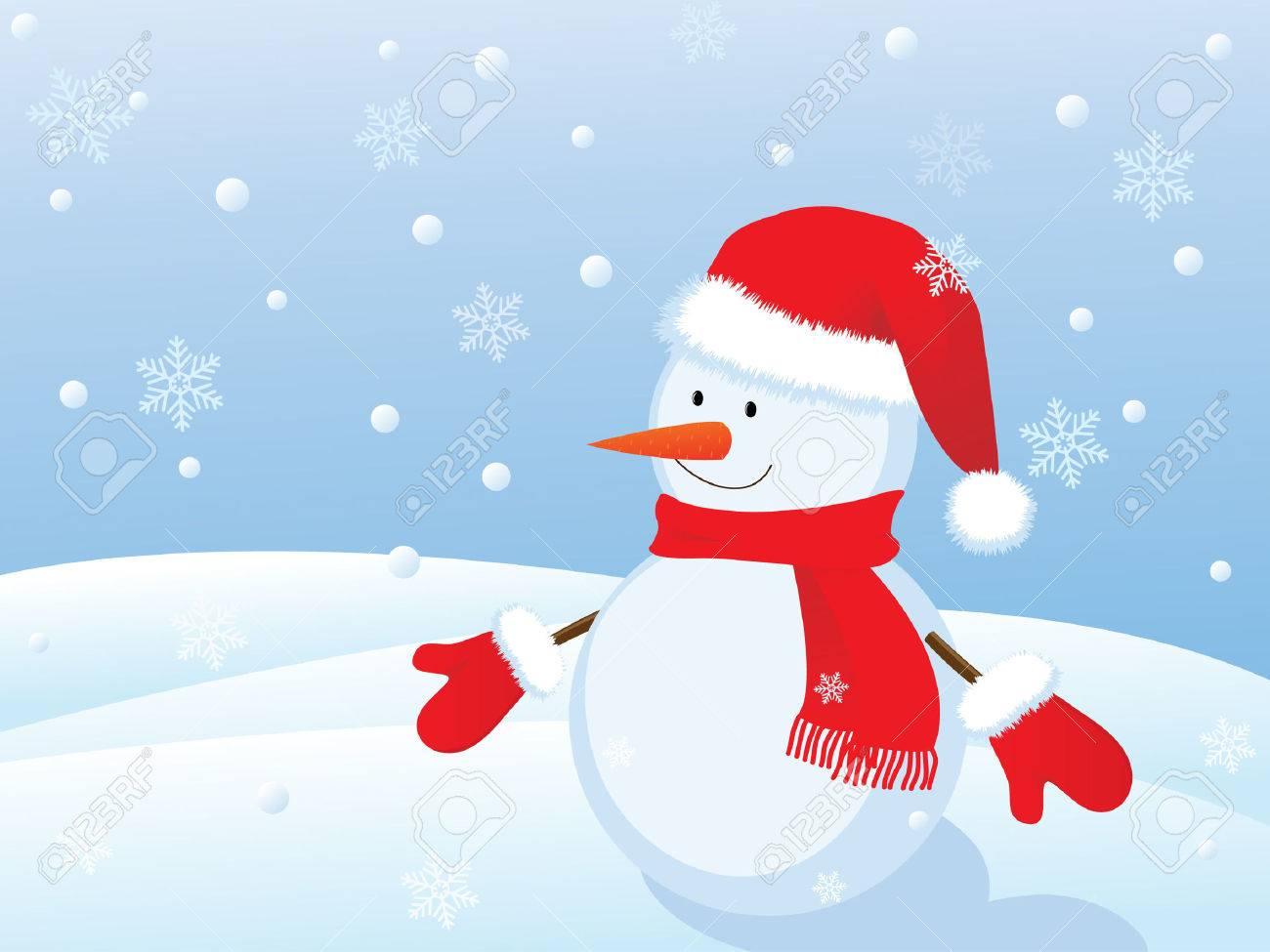 snowman in winter landscape Stock Vector - 8155641