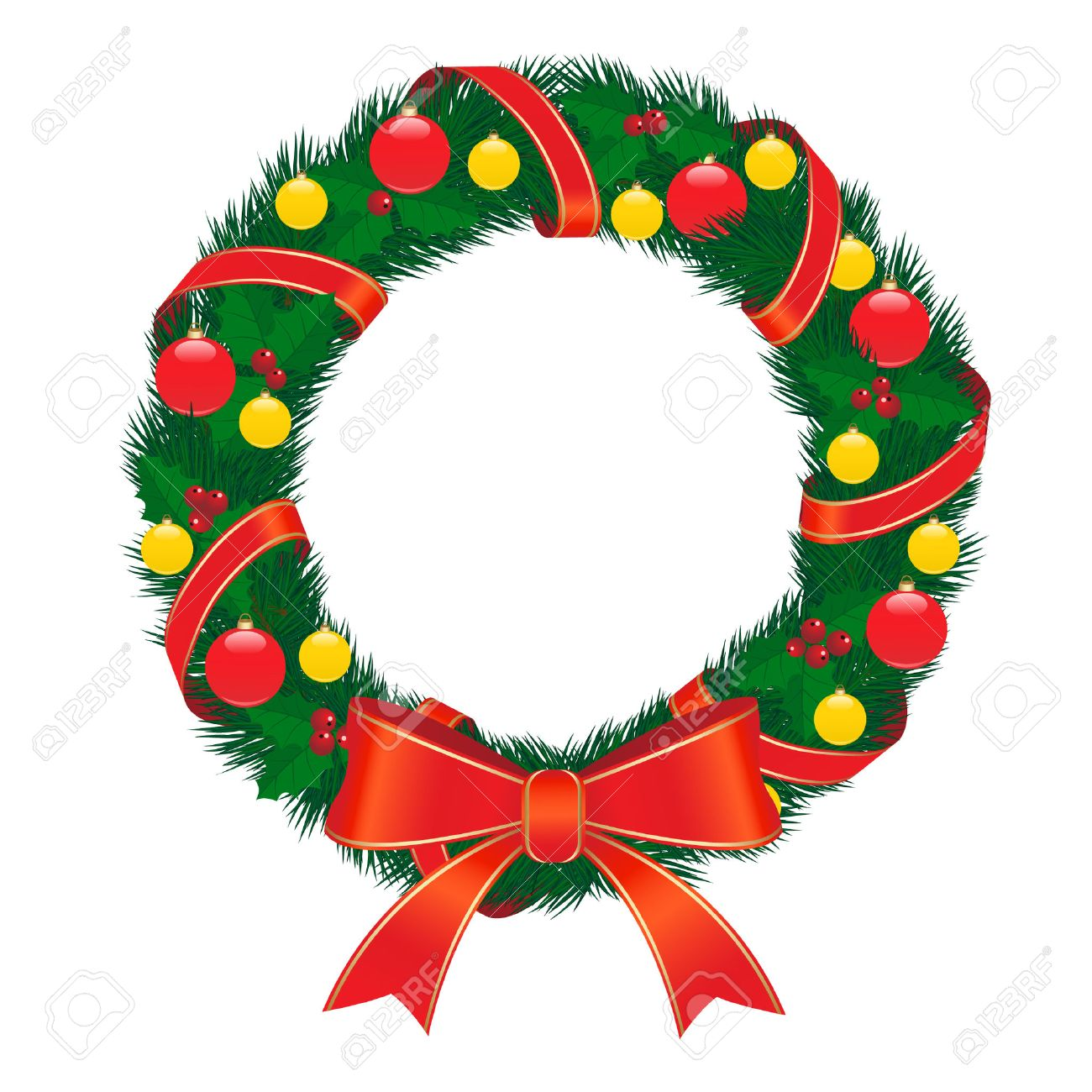 Christmas Wreath With Red Bow Royalty Free Cliparts, Vectors, And ...
