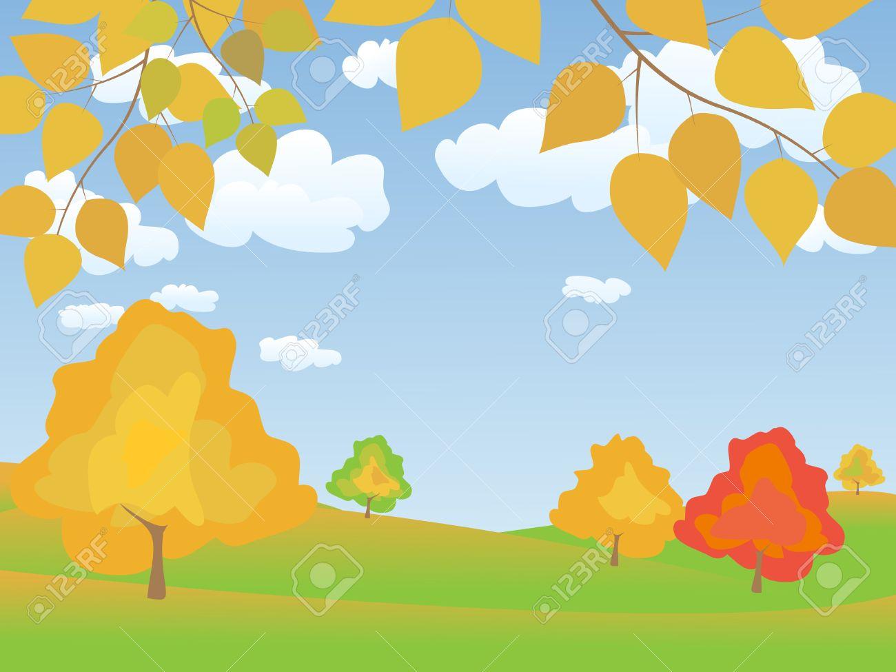vector autumn tranquil easy landscape Stock Vector - 9041658