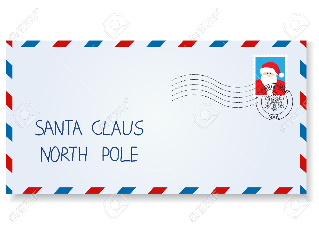 letter to santa claus with stamps and postage marks stock vector 9041722