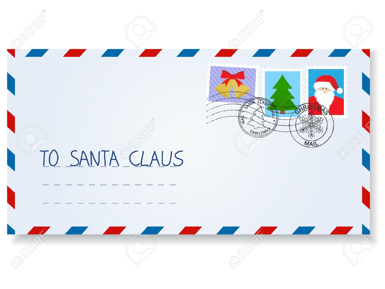 vector letter to santa claus with stamps and postage marks