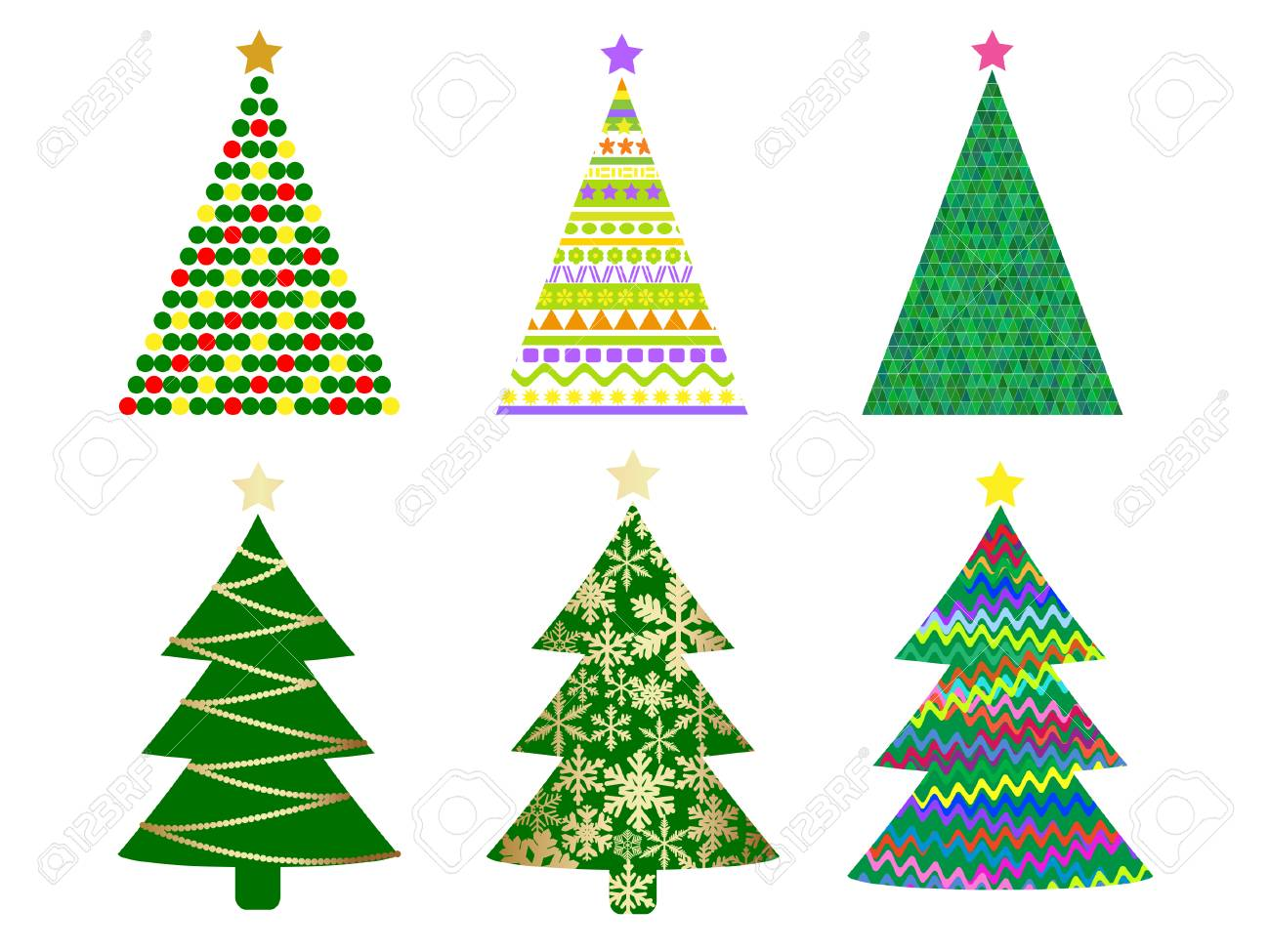 abstract christmas tree set Stock Vector - 9041773