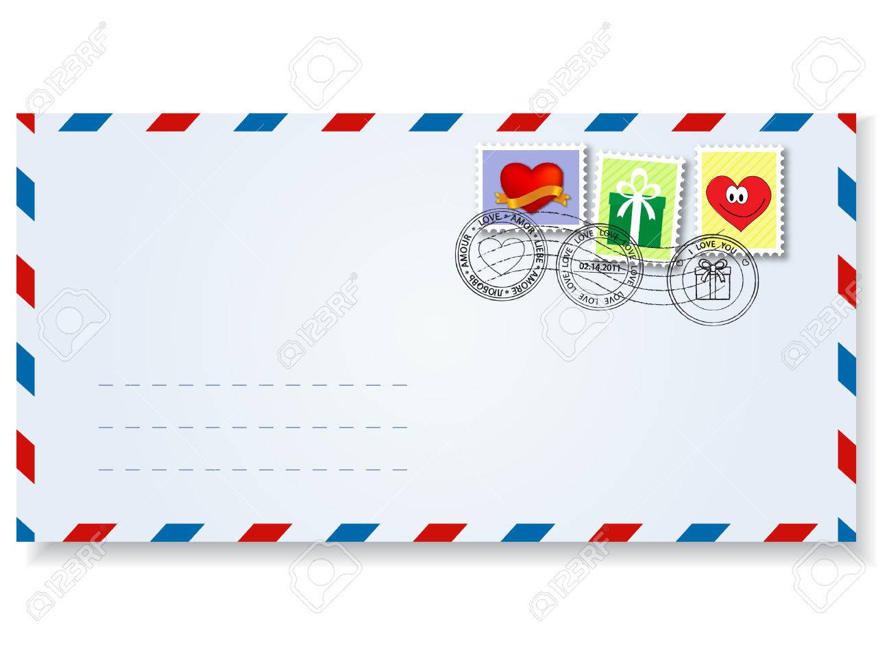 Letter To St.valentine's Day With Stamps And Postage Marks Royalty ...