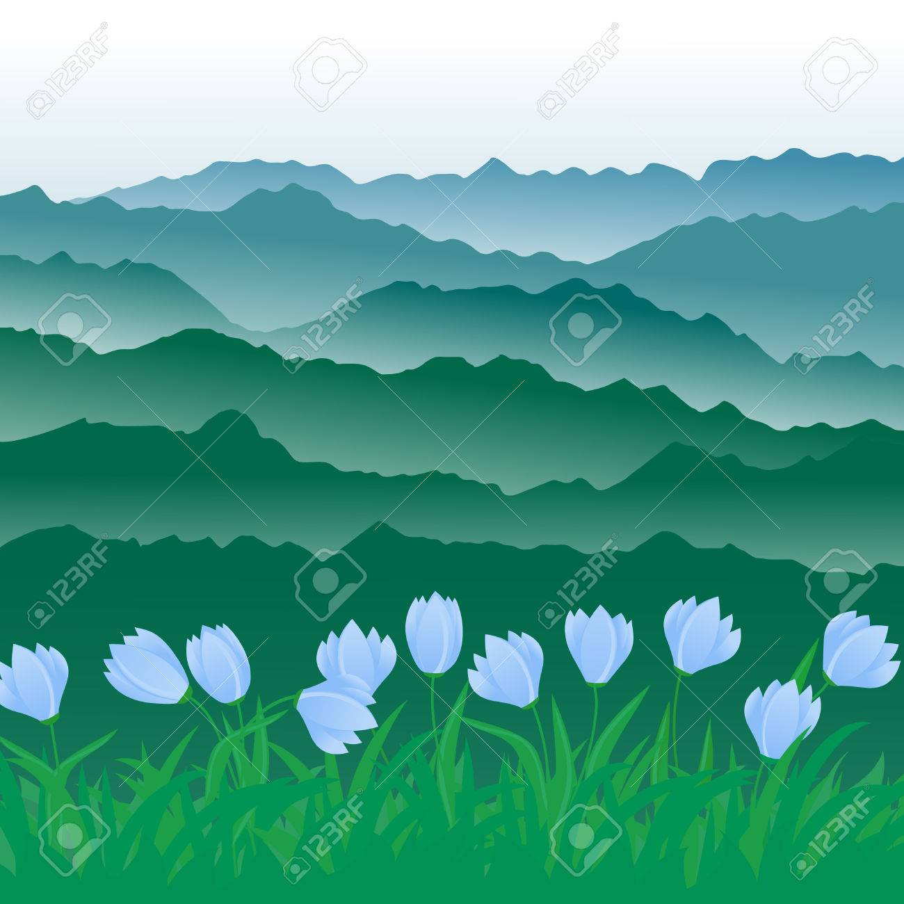 panorama of mountains. Stock Vector - 9041688