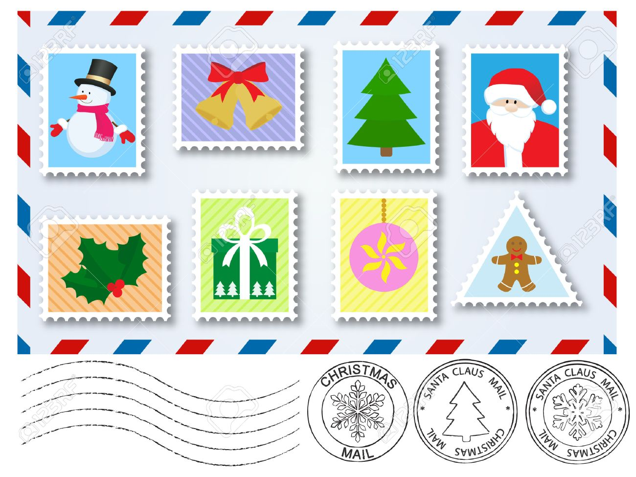 vector decoration elements stamps and postage marks for letter to santa claus