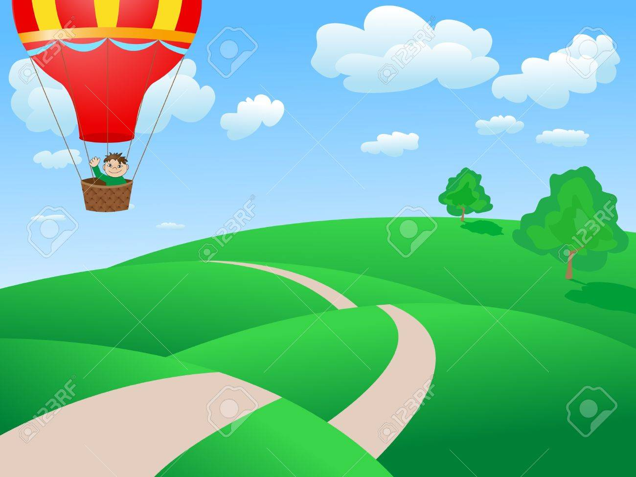 man flying in a balloon Stock Photo - 9874093