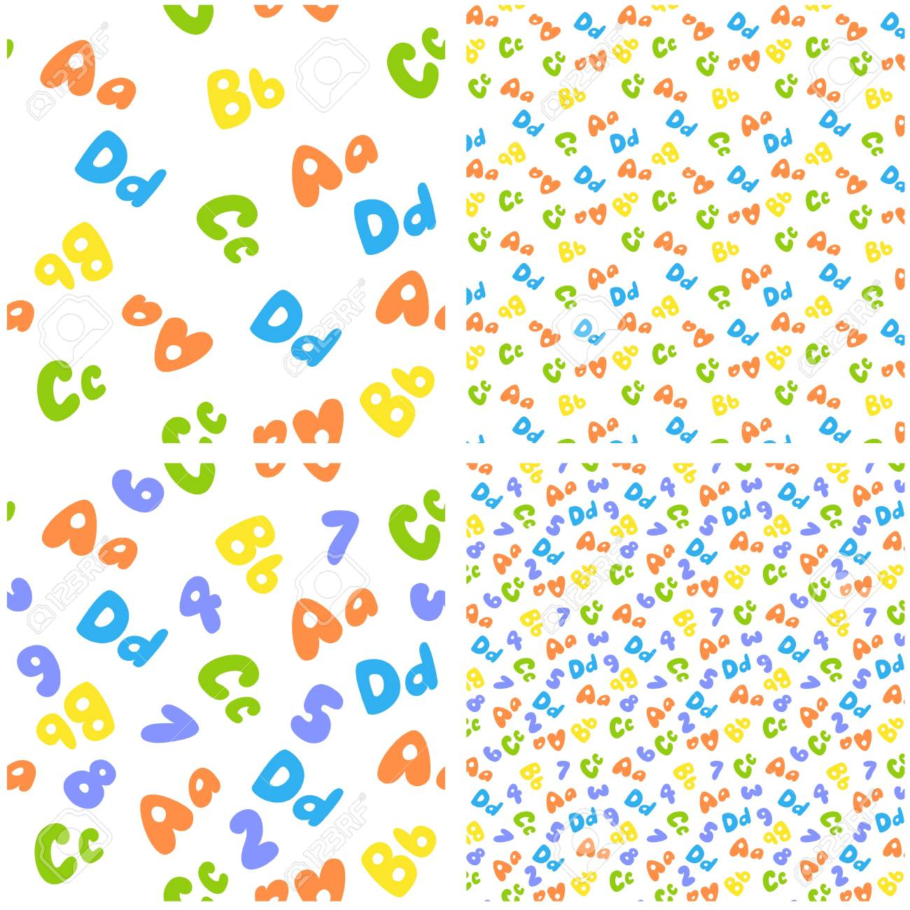 colorful seamless pattern of letters and numbers Stock Vector - 14851470