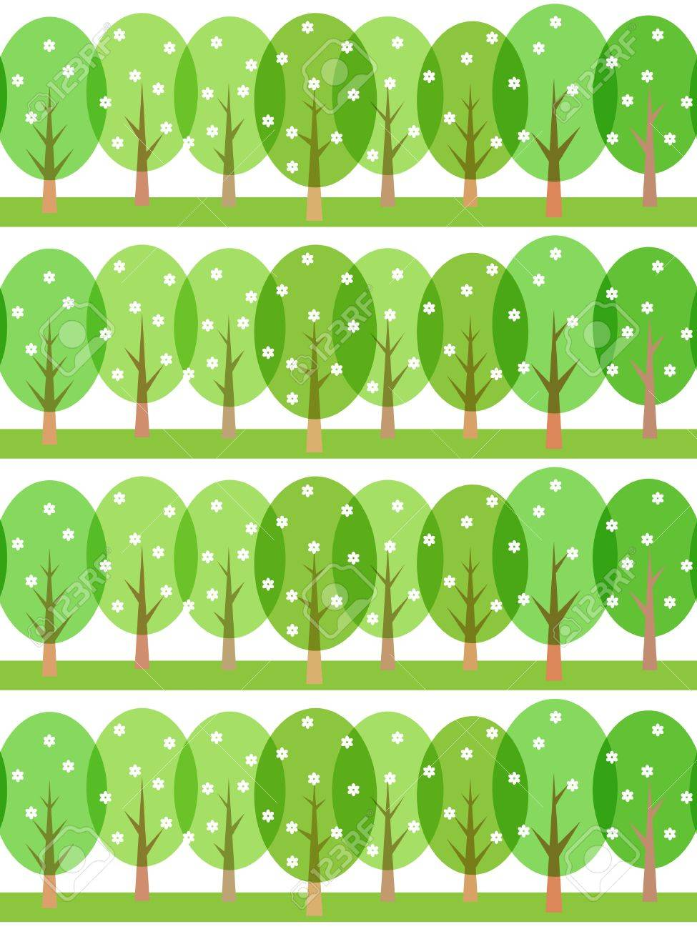 seamless spring pattern of stylized trees Stock Vector - 14851469