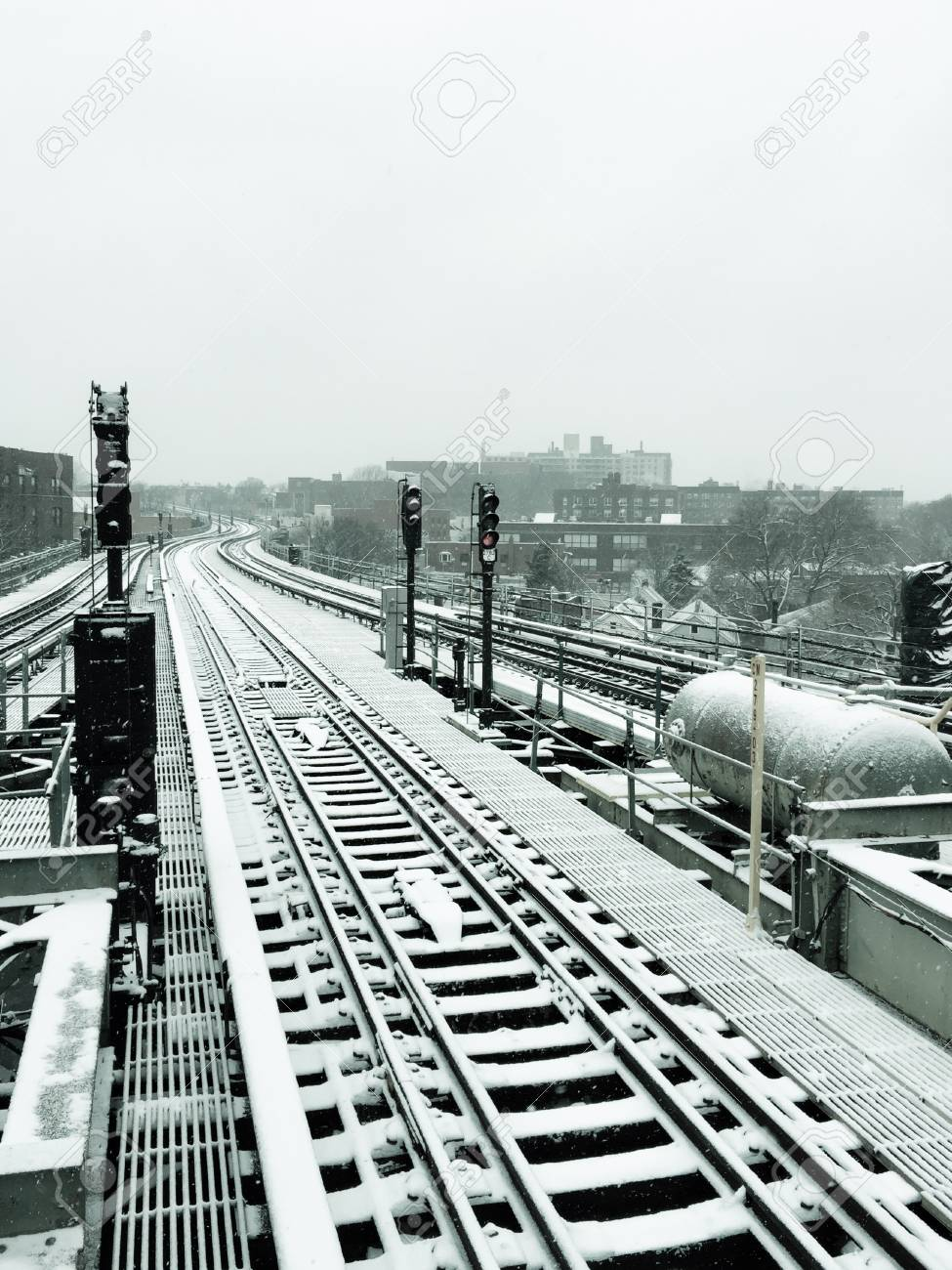 Railway With Snow In Vintage Style At 61st Woodside Subway Station Platform New