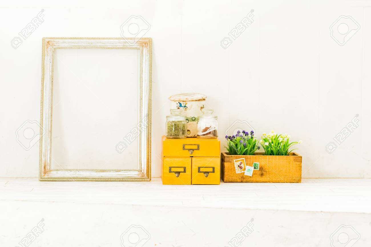 A Framed Mirror And House Plants Stock Photo, Picture And Royalty ...
