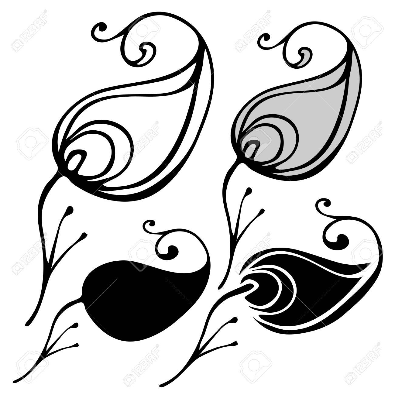 Fabulosos Pájaros Y Flores En Estilo Blanco Y Negro Se Puede Utilizar Para Imprimir En Papel Adhesivos Tarjetas Postales Bisutería Textiles