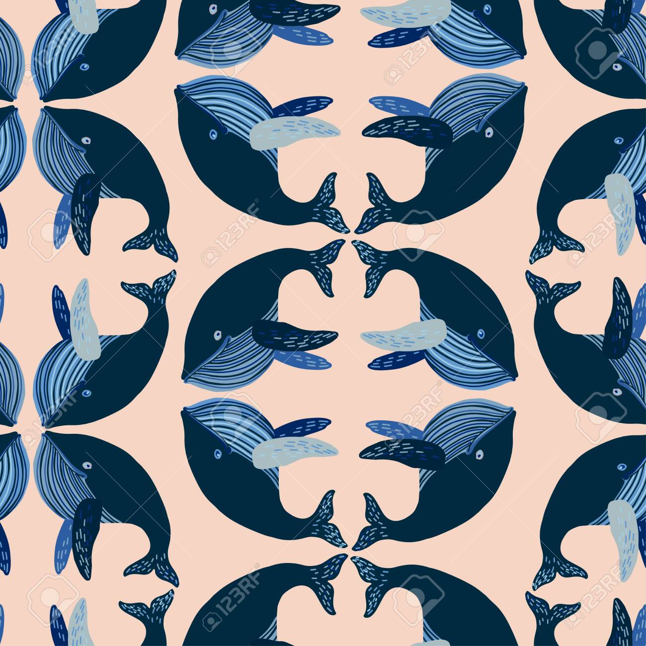 Seamless Vector Design With Stylised Whales The Design Is